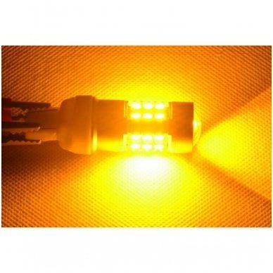 LED W21/5W / T20 / 7443/ 7444 - 6w 42 smd LED keturių kontaktų amerikietiškų automobilių posūkio gabarito/DRL lemputė 6