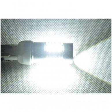 LED W21/5W / T20 / 7443/ 7444 - 6w 42 smd LED keturių kontaktų amerikietiškų automobilių posūkio gabarito/DRL lemputė 5