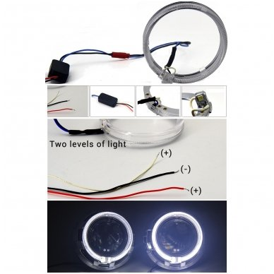 Linzės apdaila dangtelis su Angel Eyes LED DRL funkcija 2.5 / 3.0 colio 4