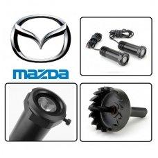 MAZDA automobilio LED 3D logotipas šešėlis į duris šviečiantis ant žemės- įgręžiamas