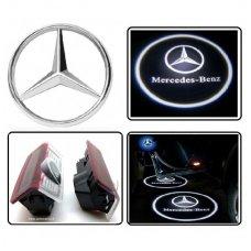 MERCEDES BENZ automobilio LED 3D logotipas šešėlis į duris šviečiantis ant žemės
