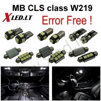 Mercedes Benz CLS class W219 LED salono apšvietimo lempučių komplektas