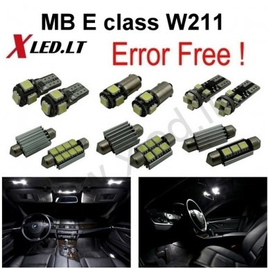 Mercedes Benz E class W211 LED salono apšvietimo lempučių komplektas