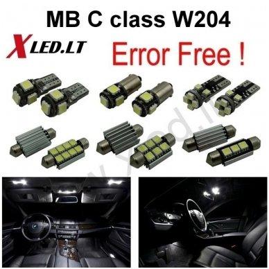 Mercedes Benz C class W204 LED salono apšvietimo lempučių komplektas