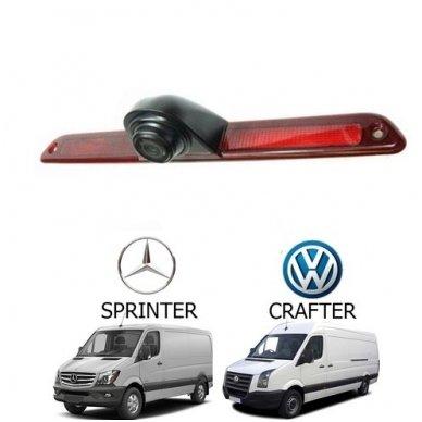 Mercedes Sprinter VW Crafter galinio vaizdo kamera integruota stabdžio žibinte 5
