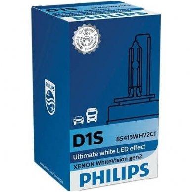 D1S NEW PHILIPS WHITE VISION +120% GEN2 originali 85415WHV2C1, 5000K xenon lemputė