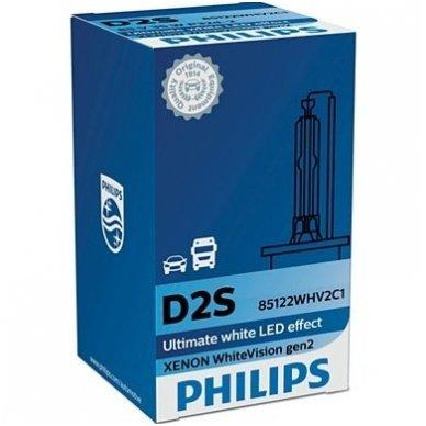 D2S NEW PHILIPS WHITE VISION GEN2 originali 85122WHV2C1, 5000K xenon lemputė