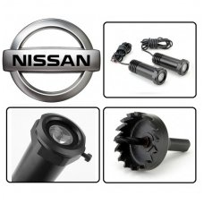 NISSAN automobilio LED 3D logotipas šešėlis į duris šviečiantis ant žemės- įgręžiamas