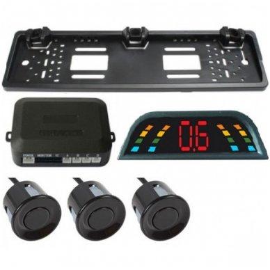 """Numerio rėmelis 3-ių juodos spalvos daviklių parkavimosi sistema su laidiniu LED ekranu """"EAGLE"""""""
