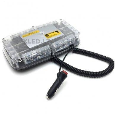 Oranžinis įspėjamasis galingas LED švyturėlis su magnetiniu padu 24W 12V-24V. 2