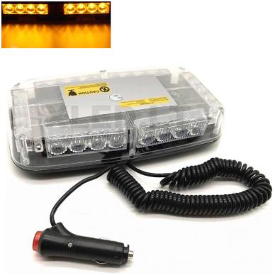 Oranžinis įspėjamasis galingas LED švyturėlis su magnetiniu padu 24W 12V-24V.