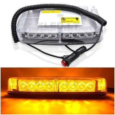Oranžinis įspėjamasis galingas LED švyturėlis su magnetiniu padu 24W 12V-24V. 8