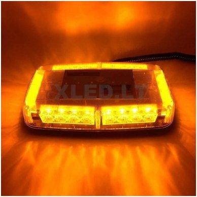 Oranžinis įspėjamasis galingas LED švyturėlis su magnetiniu padu 24W 12V-24V. 9