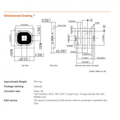 Osram Black Flat SMD raudonas diodas 1 vnt. 4
