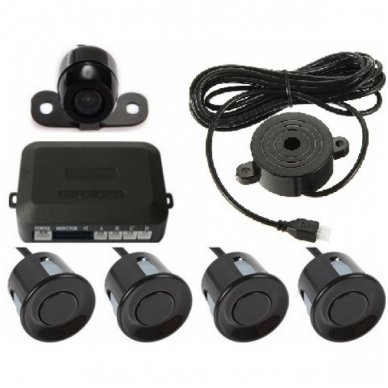 """Parkavimo kameros 4.3"""" LCD išvažiuojančio monitoriaus 4-ių juodos spalvos jutiklių """"EAGLE"""" sistema 5"""