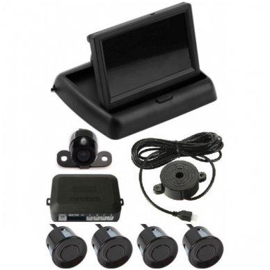 """Parkavimo kameros 4.3"""" LCD išvažiuojančio monitoriaus 4-ių juodos spalvos jutiklių """"EAGLE"""" sistema"""