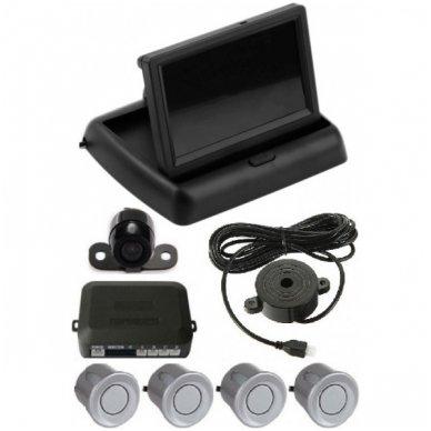 """Parkavimo kameros 4.3"""" LCD išvažiuojančio monitoriaus 4-ių pilkos spalvos jutiklių """"EAGLE"""" sistema"""