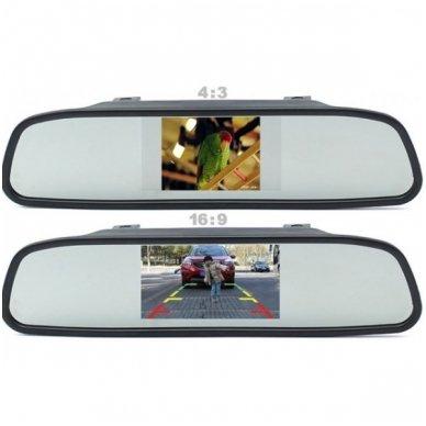 """Parkavimo kameros ir LCD 4.3 monitoriaus galinio matymo veidrodėlyje komplektas """"EAGLE"""" 3"""