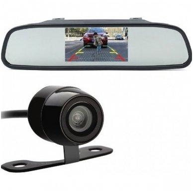 """Parkavimo kameros ir LCD 4.3 monitoriaus galinio matymo veidrodėlyje komplektas """"EAGLE"""""""