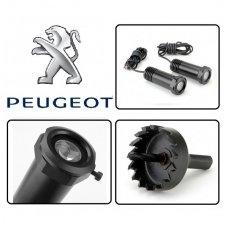 PEUGEOT automobilio LED 3D logotipas šešėlis į duris šviečiantis ant žemės- įgręžiamas