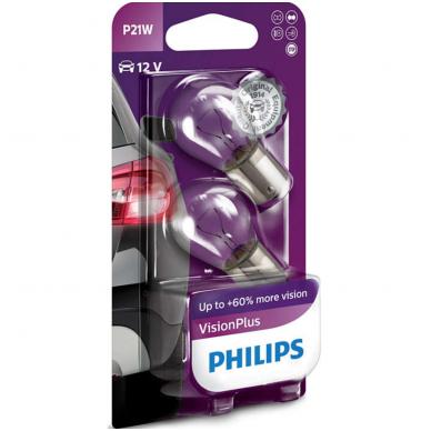 PHILIPS +60% Vision Plus P21W halogeninės lemputės 12V 21W 12498CP