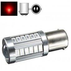 Raudona BAY15D- P21/5W, 2 kontaktai, 30+3SMD, 12v-24v, 5w lemputė