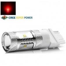 Raudona LED 3156 /3157 - 9w, 6 CREE LED dviejų kontaktų amerikietiškų automobilių lemputė
