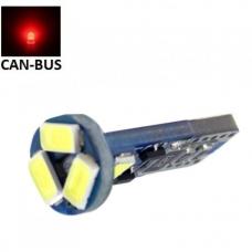 Raudona LED CAN BUS lemputė T10 / W5W - 5 LED