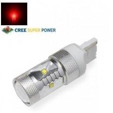 Raudona LED W21W / T20 / 7440 - 9w, 6 CREE LED dviejų kontaktų amerikietiškų automobilių lemputė