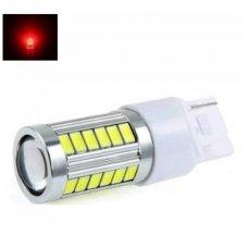 Raudona W21W / T20 / 7440 30+3SMD, 12v-24v, 5w lemputė su priekyje lęšiu