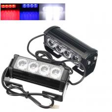 RGB Įspėjamieji 2 LED žibintai lęšiniai švyturėliai raudona, mėlyna, balta