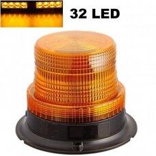 Sertifikuotas įspėjamasis 32 LED SMD oranžinis švyturėlis su magnetiniu padu