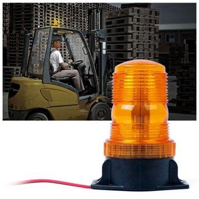Sertifikuotas įspėjamasis LED 30SMD oranžinis švyturėlis prisukamas 3