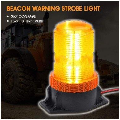 Sertifikuotas įspėjamasis LED 30SMD oranžinis švyturėlis prisukamas 4
