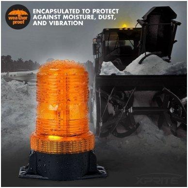 Sertifikuotas įspėjamasis LED 30SMD oranžinis švyturėlis prisukamas 7