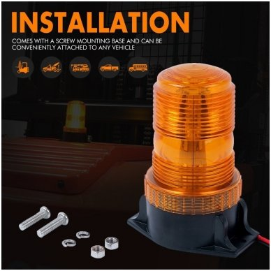 Sertifikuotas įspėjamasis LED 30SMD oranžinis švyturėlis prisukamas 8