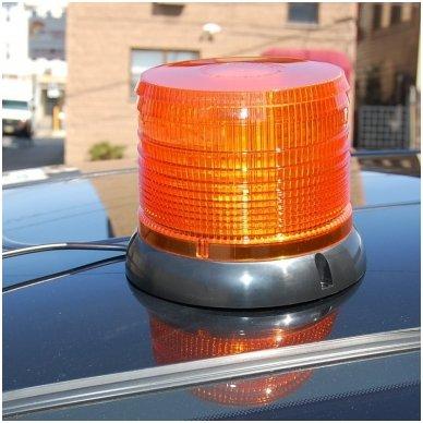 Sertifikuotas įspėjamasis LED 60SMD oranžinis švyturėlis su magnetiniu padu 4