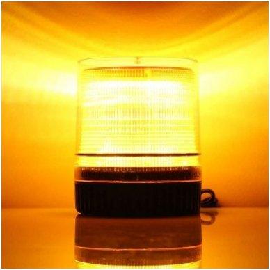 Sertifikuotas įspėjamasis LED 60SMD oranžinis švyturėlis su magnetiniu padu 5