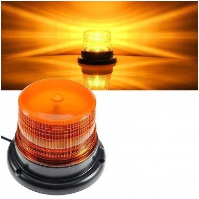 Sertifikuotas įspėjamasis LED oranžinis švyturėlis su magnetiniu padu 9