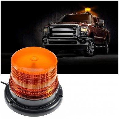 Sertifikuotas įspėjamasis LED oranžinis švyturėlis su magnetiniu padu 10