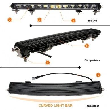 SLIM LED BAR lenktas sertifikuotas žibintas 84W 8400LM 12-24V (E9 HR PL) COMBO 52cm 14