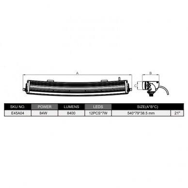SLIM LED BAR lenktas sertifikuotas žibintas 84W 8400LM 12-24V (E9 HR PL) COMBO 52cm 10