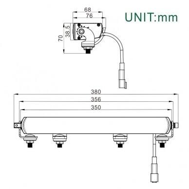 SLIM LED BAR sertifikuotas žibintas 56W 5600LM 12-24V (E9 HR PL) COMBO 36cm 10