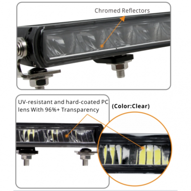 SLIM LED BAR lenktas sertifikuotas žibintas 84W 8400LM 12-24V (E9 HR PL) COMBO 52cm 16