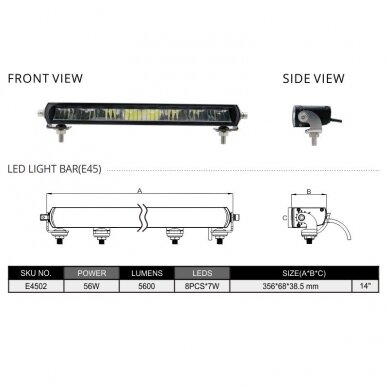 SLIM LED BAR sertifikuotas žibintas 56W 5600LM 12-24V (E9 HR PL) COMBO 36cm 11