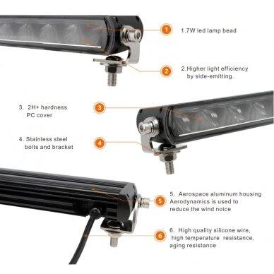 SLIM LED BAR sertifikuotas žibintas 56W 5600LM 12-24V (E9 HR PL) COMBO 36cm 7
