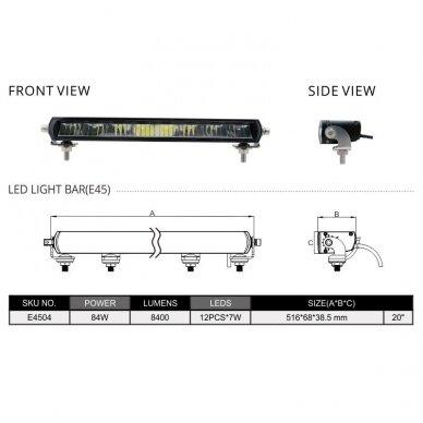 SLIM LED BAR sertifikuotas žibintas 84W 8400LM 12-24V (E9 HR PL) COMBO 52cm 23