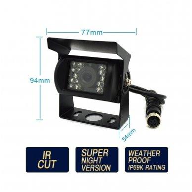 Spec. technikos išorės vaizdo kamera 4PIN IP69K 12V-24V su IR LED 6