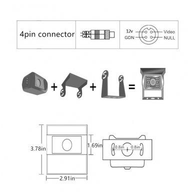 Spec. technikos išorės vaizdo kamera 4PIN IP69K 12V-24V su IR LED 8
