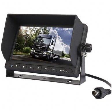 Spec. technikos LCD 7.0 colių monitorius 2 kanalų 12V-24V U-tvirtinimas